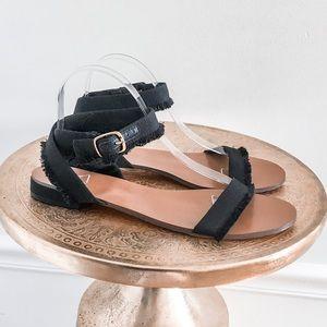 J.Crew Factory Grosgrain Fringe Ankle Strap Sandal